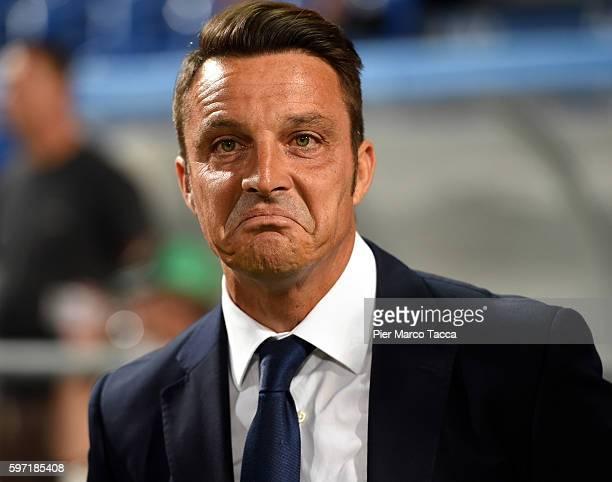 Head Coach of Pescara Calcio Massimo Oddo looks during the Serie A match between US Sassuolo and Pescara Calcio at Mapei Stadium Citta' del Tricolore...