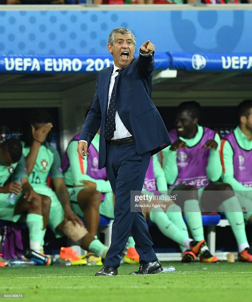 Head coach of Portugal Fernando Santos gestures during the UEFA Euro 2016 semi final match between Portugal and Wales at Stade de Lyon in Lyon, France on July 6, 2016.