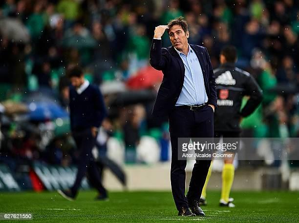 Head Coach of RC Celta de Vigo Eduardo Berizzo reacts during La Liga match between Real Betis Balompie an RC Celta de Vigo at Benito Villamarin...