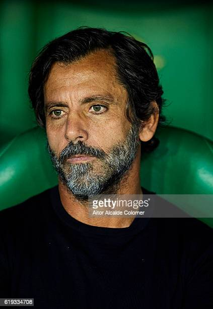 Head coach of RCD Espanyol Enrique Sanchez Flores looks on prior to the match between Real Betis Balompie vs RCD Espanyol as part of La Liga at...
