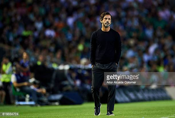 Head coach of RCD Espanyol Enrique Sanchez Flores looks on the match between Real Betis Balompie vs RCD Espanyol as part of La Liga at Benito...