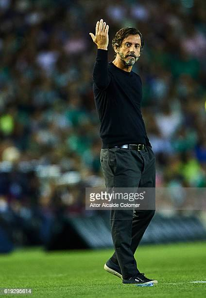 Head coach of RCD Espanyol Enrique Sanchez Flores reacts during the match between Real Betis Balompie vs RCD Espanyol as part of La Liga at Benito...