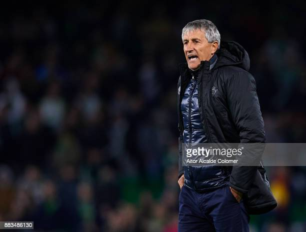 Head Coach of Real Betis Balompie Quique Setien looks on during the Copa del Rey Round of 32 Second Leg match between Real Betis Balompie and Cadiz...