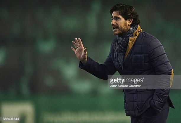 Head Coach of Real Betis Balompie Victor Sanchez del Amo gives instructions during the La Liga match between Real Betis Balompie and Real Sporting de...