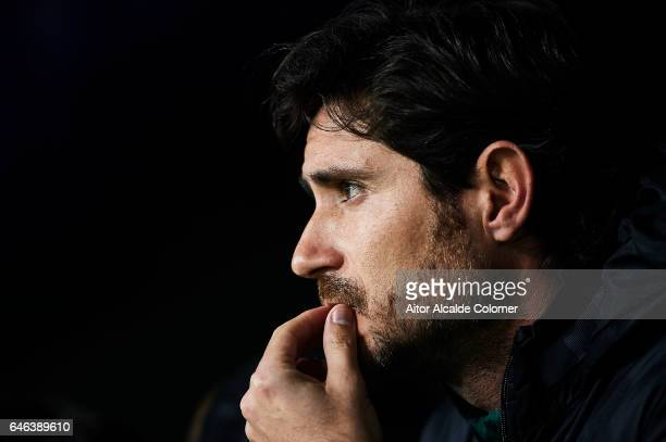 Head Coach of Real Betis Balompie Victor Sanchez del Amo looks on prior to the match of La Liga match between Malaga CF and Real Betis Balompie at La...