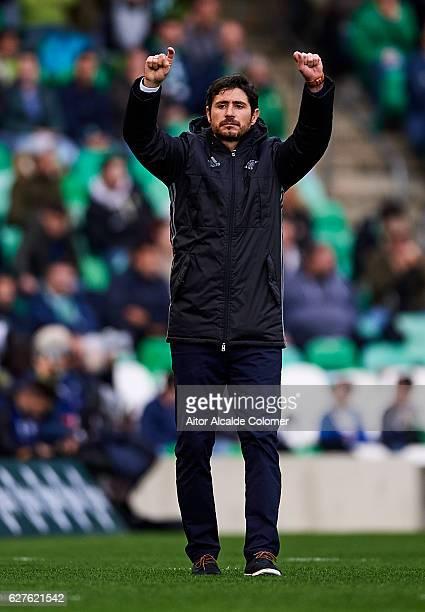 Head Coach of Real Betis Balompie Victor Sanchez del Amo reacts during La Liga match between Real Betis Balompie an RC Celta de Vigo at Benito...