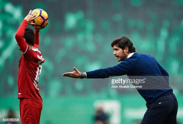 Head Coach of Real Betis Balompie Victor Sanchez del Amo reacts during La Liga match between Real Betis Balompie and Sevilla FC at Benito Villamarin...