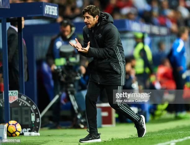 Head Coach of Real Betis Balompie Victor Sanchez del Amo reacts during La Liga match between Malaga CF and Real Betis Balompie at La Rosaleda Stadium...