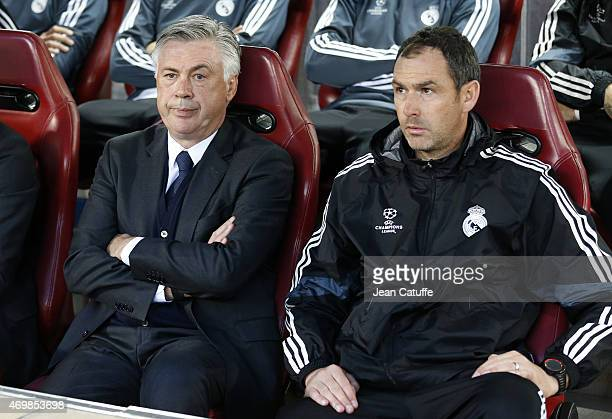 Head coach of Real Madrid Carlo Ancelotti and assistantcoach of Real Madrid Paul Clement look on during the UEFA Champions League Quarter Final First...