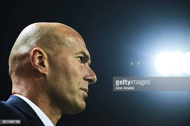Head Coach of Real Madrid CF Zinedine Zidane looks on prior to the Copa del Rey Round of 16 Second Leg match between Sevilla FC vs Real Madrid CF at...