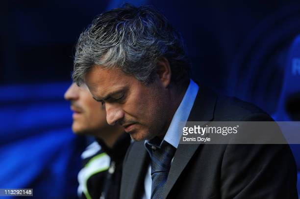 Head coach of Real Madrid Jose Mourinho looks down before the start of the La Liga match between Real Madrid and Real Zaragona at Estadio Santiago...
