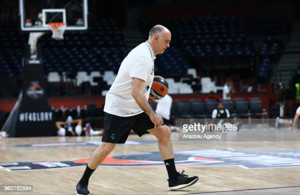 Head coach of Real Madrid Pablo Laso leads a training session ahead of the Turkish Airlines Euroleague Final Four final match between Fenerbahce...