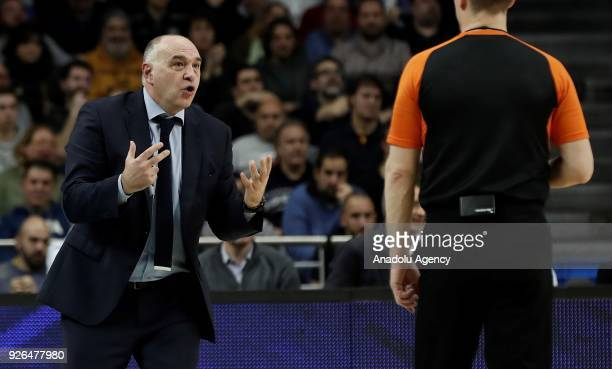 Head coach of Real Madrid Pablo Laso objects to referee during the Turkish Airlines Euroleague basketball match between Real Madrid and Fenerbahce...