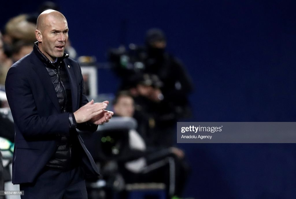 Head Coach of Real Madrid Zinedine Zidane gestures during the La Liga football match between Leganes and Real Madrid at the Estadio Municipal Butarque in Madrid, Spain on February 21, 2018.