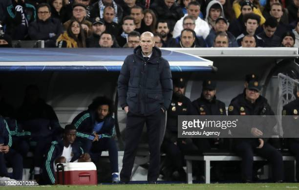 Head coach of Real Madrid Zinedine Zidane looks on during the UEFA Champions League round of 16 first leg soccer match between Real Madrid and...