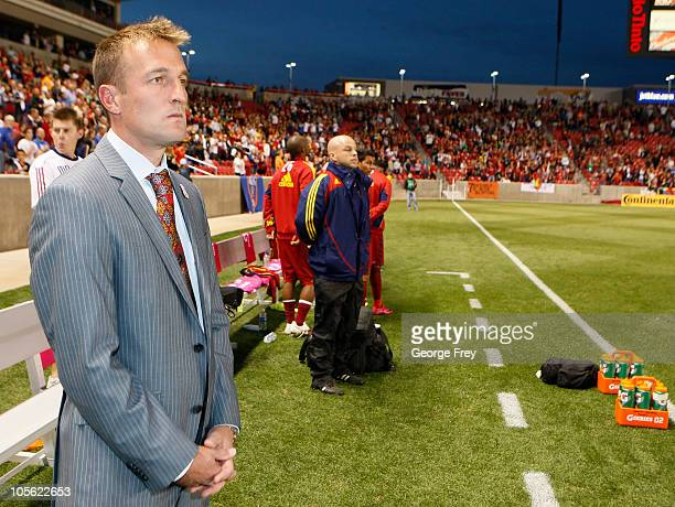 Head Coach of Real Salt Lake Jason Kreis waits for a game to start against FC Dallas at an MLS soccer game September 16 2010 at Rio Tinto Stadium in...