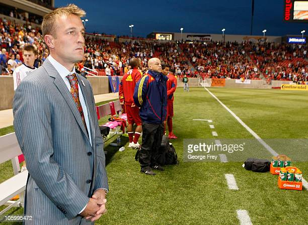 Head coach of Real Salt Lake Jason Kreis waits for the game to start against FC Dallas during the first half of an MLS soccer game September 16 2010...