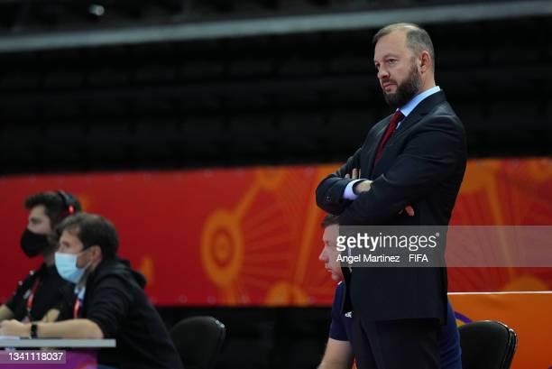 Head coach of RFU Sergei Zarovich during the FIFA Futsal World Cup 2021 group B match between Guatemala and Football Union Of Russia at Kaunas Arena...