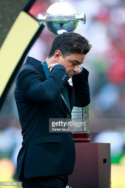 Head Coach of River Plate Marcelo Gallardo reacts after receiving the second place medal after the final match of Copa CONMEBOL Libertadores 2019...