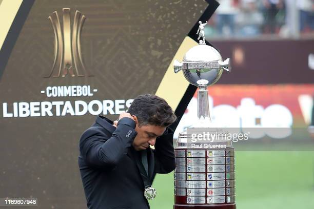 Head Coach of River Plate Marcelo Gallardo walks after receiving the second place medal after losing the the final match of Copa CONMEBOL...