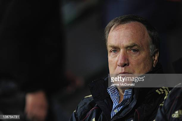 Head Coach of Russia Dick Advocaat looks on during the EURO 2012 Group B qualifier between Slovakia and Russia at the MSK Zilina stadium on October 7...