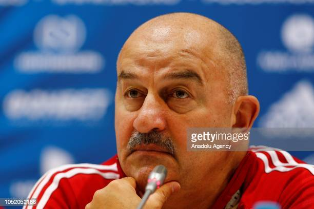 Head coach of Russia National team Stanislav Cherchesov speaks during a press conference ahead of UEFA Nations League Group 2 of League B soccer...