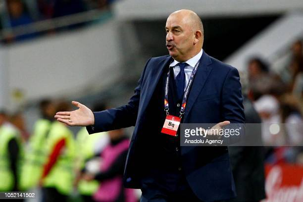 Head coach of Russian national football team Stanislav Cherchesov gestures during the UEFA Nations League Group 2 of League B soccer match between...