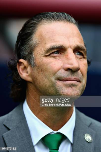 Head Coach of Saudi Arabia Juan Antonio Pizzi looks on before the 2018 FIFA World Cup Russia group A match between Russia and Saudi Arabia at...