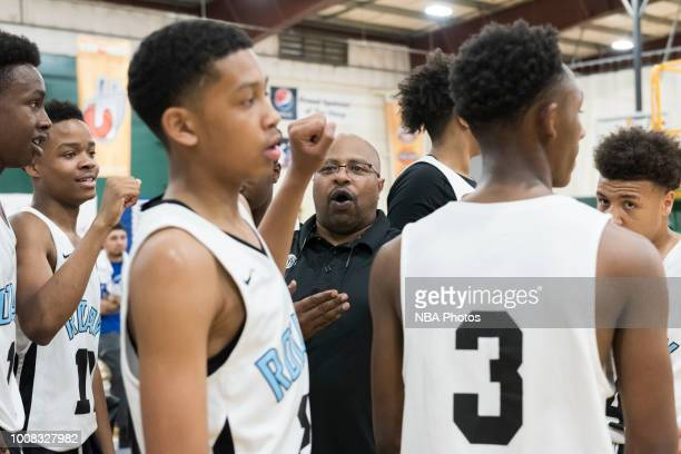 Head Coach of Seattle Rotary talks to his team during the game against Alaska Tru Game during the Jr NBA World Championship Northwest Regional Finals...