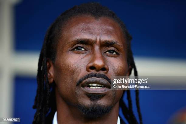 Head Coach of Senegal Aliou Cisse looks on before the 2018 FIFA World Cup Russia group H match between Poland and Senegal at Spartak Stadium on June...
