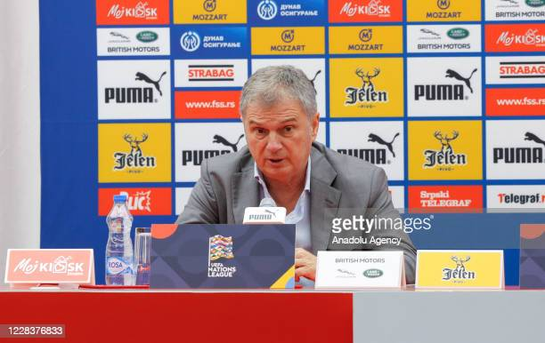 Head coach of Serbia national football team Ljubisa Tumbakovic holds a press conference after the UEFA Nations League B - Group 3 match between...