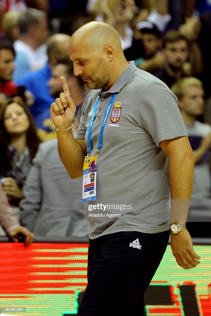 Head Coach of Serbia Sasha Djordjevic (R) is seen during the EuroBasket 2015 group B match between Spain and Serbia at Mercedes-Benz Arena in Berlin, Germany on September 5, 2015.
