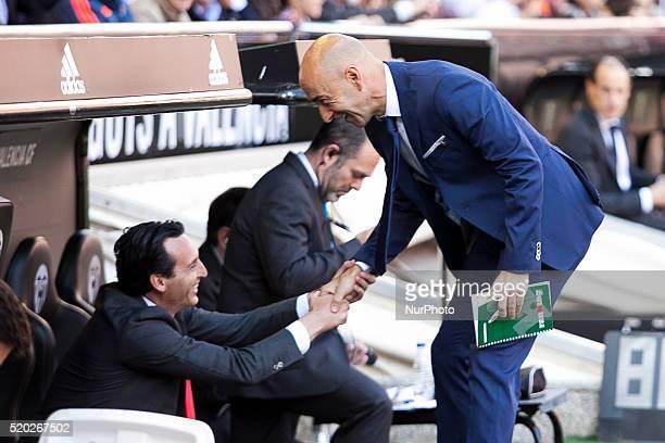 Head coach of Sevilla CF Unai Emery and Head coach of Valencia CF Paco Ayestaran during La Liga match between Valencia CF and Sevilla CF at Mestalla...
