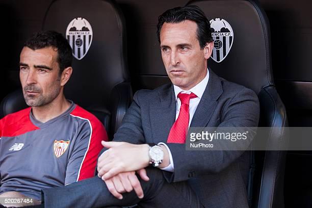 Head coach of Sevilla CF Unai Emery during La Liga match between Valencia CF and Sevilla CF at Mestalla Stadium in Valencia on April 10 2016