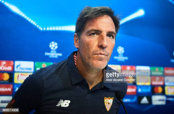 Head Coach of Sevilla FC Eduardo Berizzo attends the press conference prior to their UEFA Champions League match between Sevilla FC and Spartak...