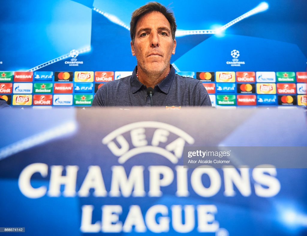 Head Coach of Sevilla FC Eduardo Berizzo attends the press conference prior to their UEFA Champions League match between Sevilla FC and Spartak Moskva at Estadio Ramon Sanchez Pizjuan on October 31, 2017 in Seville, Spain.
