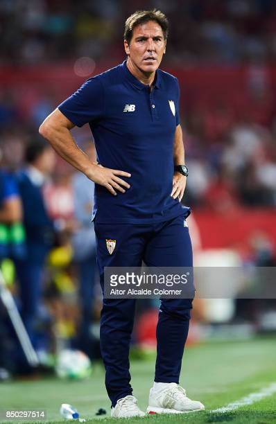 Head Coach of Sevilla FC Eduardo Berizzo looks on during the La Liga match between Sevilla and Las Palmas at Estadio Ramon Sanchez Pizjuan on...