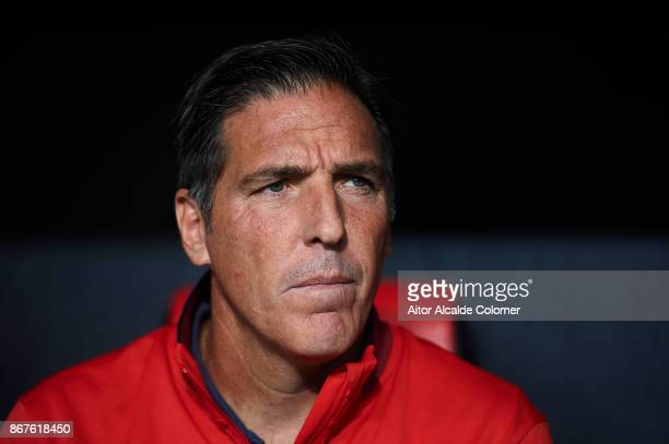 Head Coach of Sevilla FC Eduardo Berizzo looks on during the La Liga match between Sevilla and Leganes at Estadio Sanchez Pizjuan on October 28 2017...
