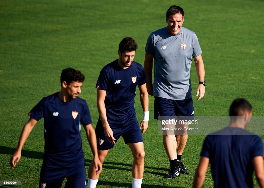 Head Coach of Sevilla FC Eduardo Berizzo looks on during the training session prior to their UEFA Champions League match against Istanbul Basaksehir at the Sevilla FC training ground on August 21, 2017 in Seville, Spain.