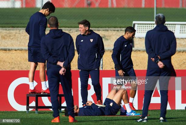 Head Coach of Sevilla FC Eduardo Berizzo looks on during the training of Sevilla FC prior to their Champions League match against Liverpool FC at the...
