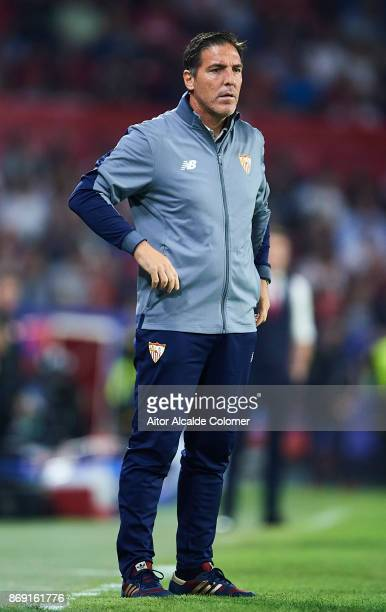 Head Coach of Sevilla FC Eduardo Berizzo looks on during the UEFA Champions League group E match between Sevilla FC and Spartak Moskva at Estadio...