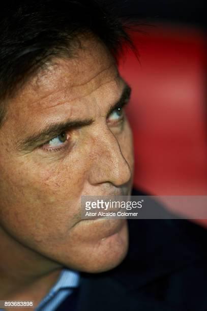 Head Coach of Sevilla FC Eduardo Berizzo looks on prior to the start the La Liga match between Sevilla and Levante at Estadio Ramon Sanchez Pizjuan...