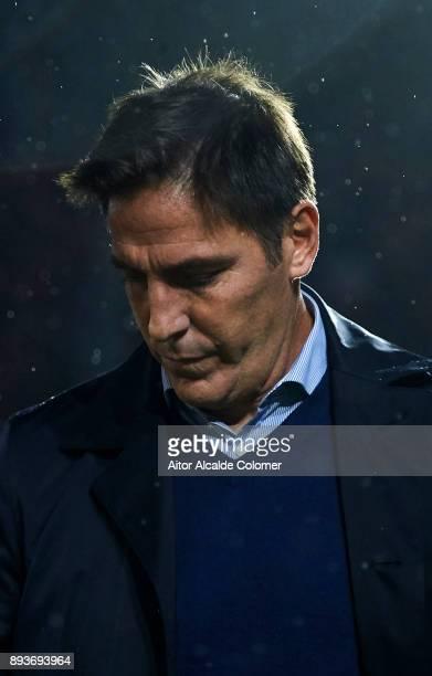 Head Coach of Sevilla FC Eduardo Berizzo reacts on prior to the start the La Liga match between Sevilla FC and Levante UD at Estadio Ramon Sanchez...