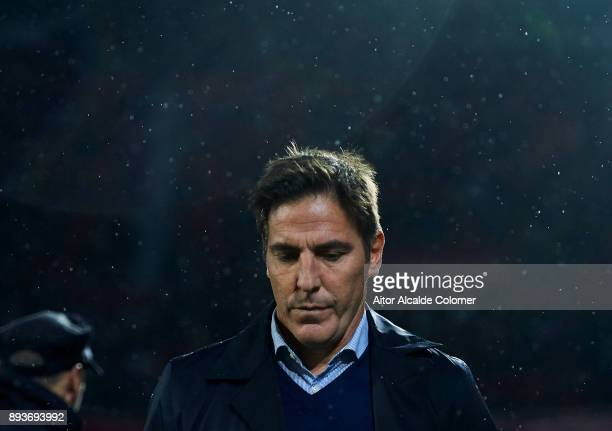 Head Coach of Sevilla FC Eduardo Berizzo reacts on prior to the start the La Liga match between Sevilla FC and Levante UD at Estadio Ramon Sanchez...