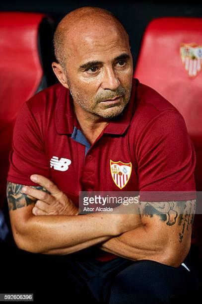 Head Coach of Sevilla FC Jorge Sampaoli looks on during the match between Sevilla FC vs RCD Espanyol as part of La Liga at Estadio Ramon Sanchez...