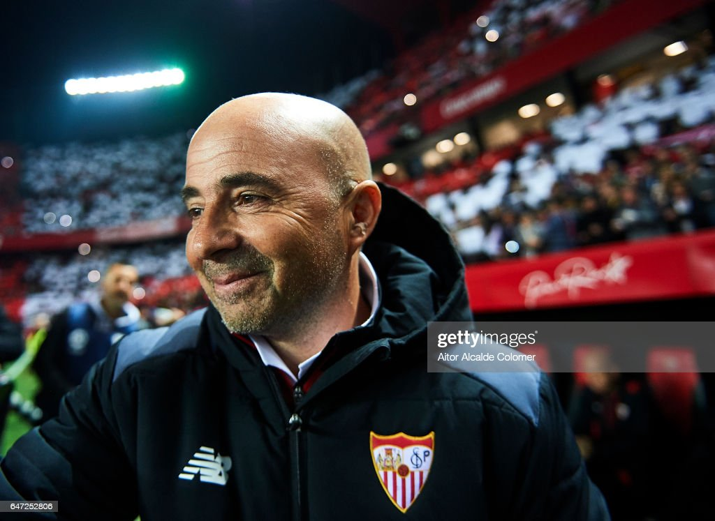 Head Coach of Sevilla FC Jorge Sampaoli looks on prior to the La Liga match between Sevilla FC and Athletic Club de Bilbao at Estadio Ramon Sanchez Pizjuan on March 02, 2017 in Seville, Spain.