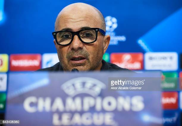Head Coach of Sevilla FC Jorge Sampaoli speaks to the media during a press conference prior to their UEFA Champions League Round of 16 1st Leg...