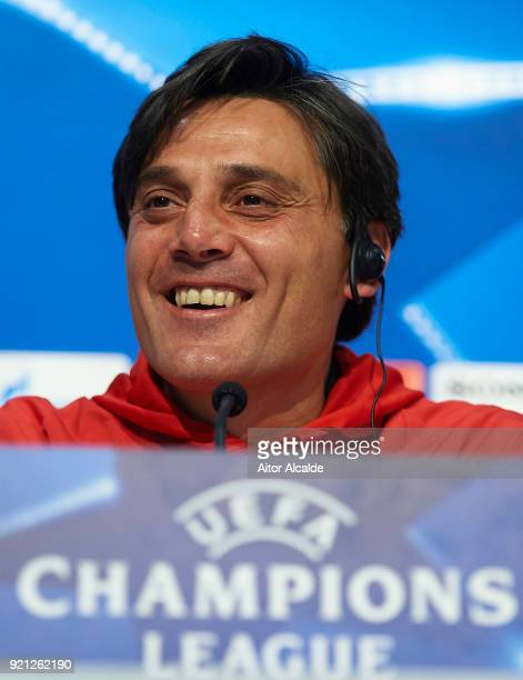 Head Coach of Sevilla FC Vincenzo Montella attends a press conference prior to the UEFA Champions League match against Manchester United at Ramon...