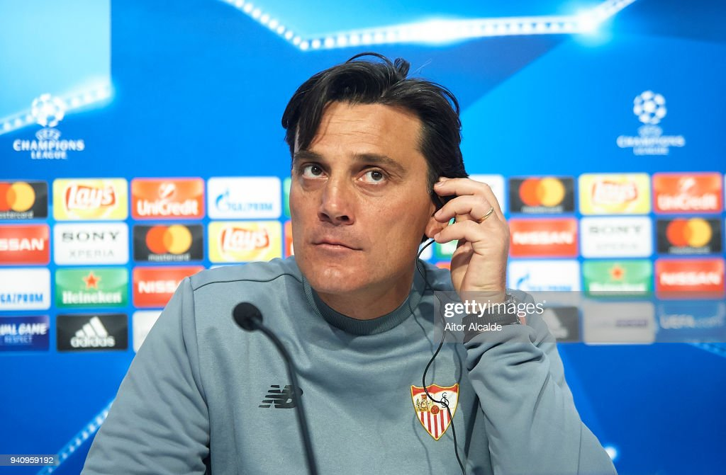 Head Coach of Sevilla FC Vincenzo Montella attends to the press during the Press Conference prior to their UEFA Champions League match against Bayern Munich at t Estadio Ramon Sanchez Pizjuan on April 2, 2018 in Seville, Spain.