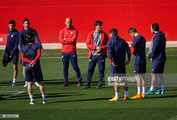 Head Coach of Sevilla FC Vincenzo Montella looks on during a Sevilla FC training session prior to their UEFA Champions League match against...